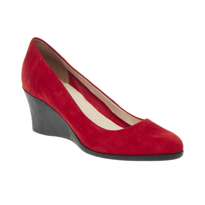 Leather wedge pumps flexible, red , 623-5395 - 13