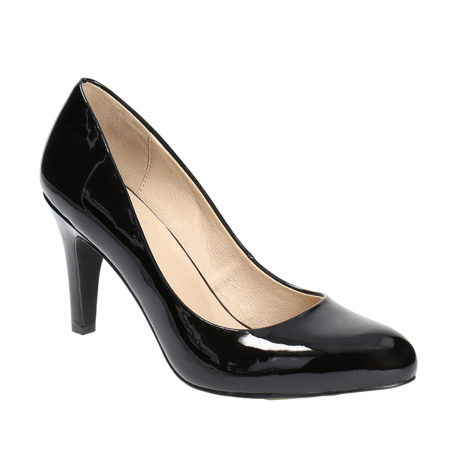 Ladies' leather pumps insolia, black , 728-6633 - 13