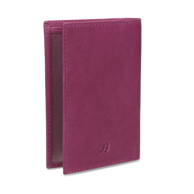 Leather document and card case bata, pink , 944-5158 - 13