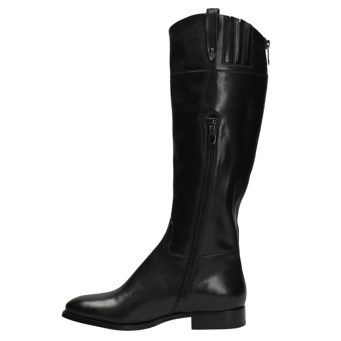 Leather high boots with eye-catching zip bata, black , 596-6631 - 19