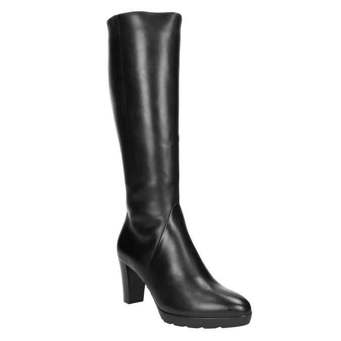 Ladies' leather heeled high boots hogl, black , 794-6009 - 13