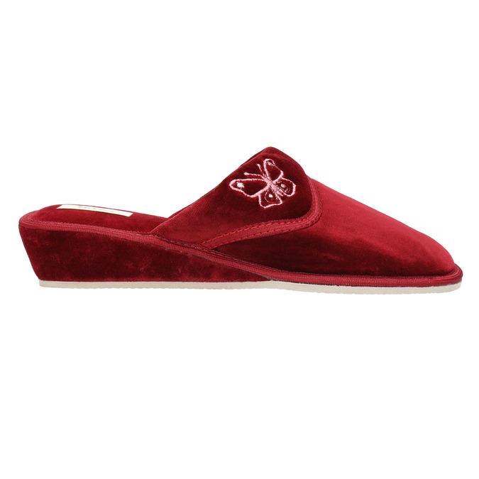 Ladies' wedge-heel slippers bata, red , 679-5607 - 15