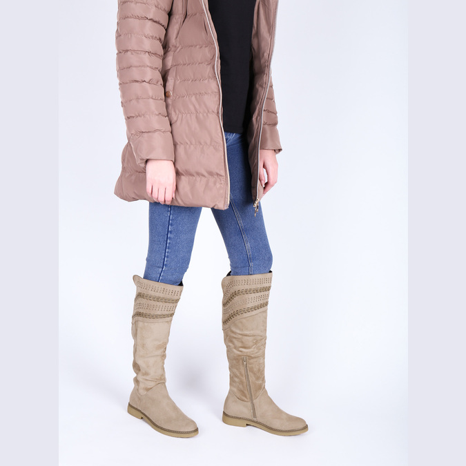 High boots above the knee bata, beige , 599-2602 - 18