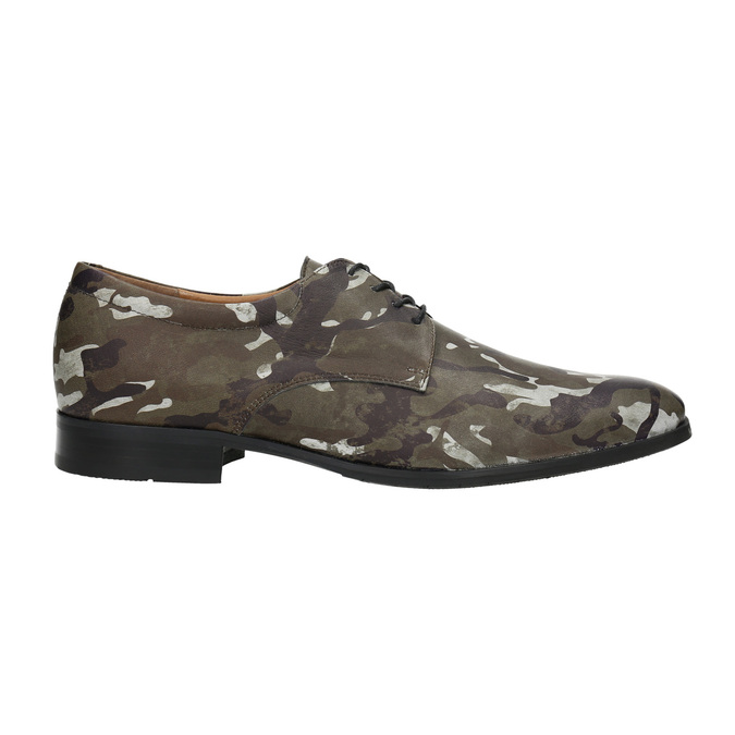 Leather shoes with camouflage pattern climatec, green, 826-7600 - 15