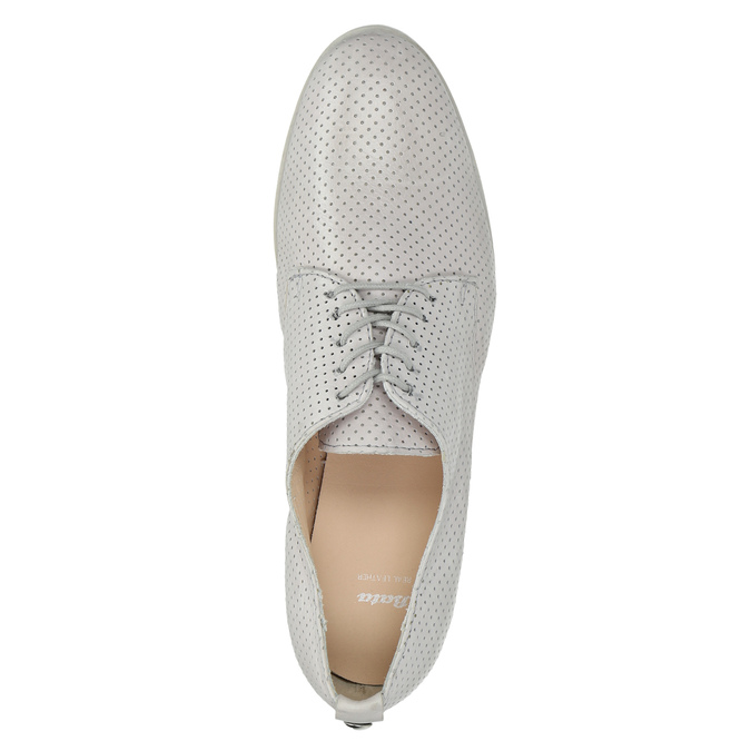 Leather shoes with perforations bata, gray , 526-1626 - 19