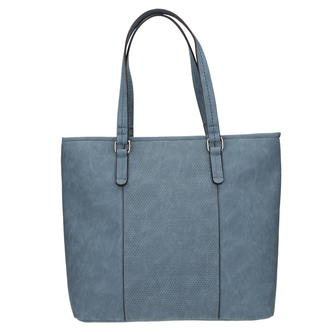 Blue handbag with perforated detail bata, blue , 961-9711 - 26