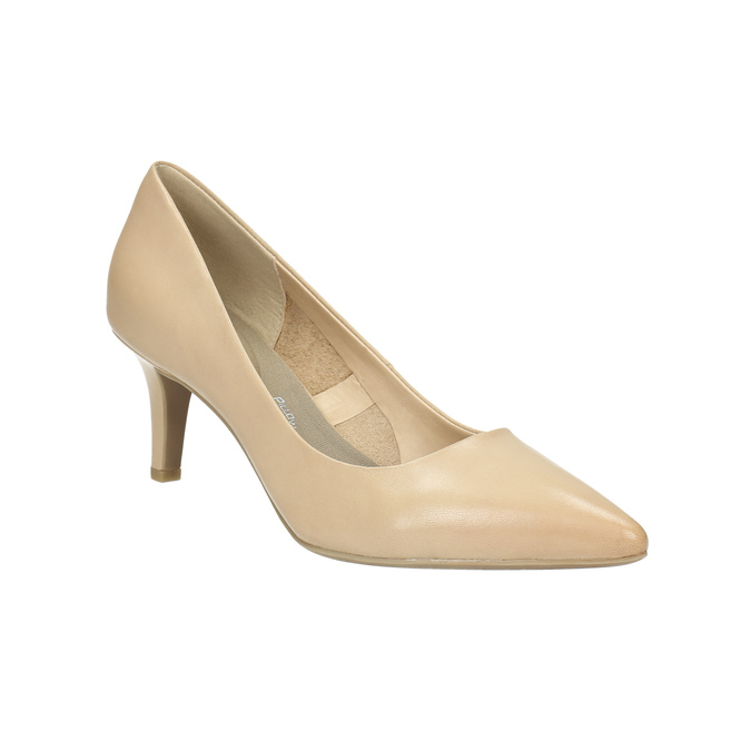 Leather ladies' pumps pillow-padding, beige , 626-8635 - 13