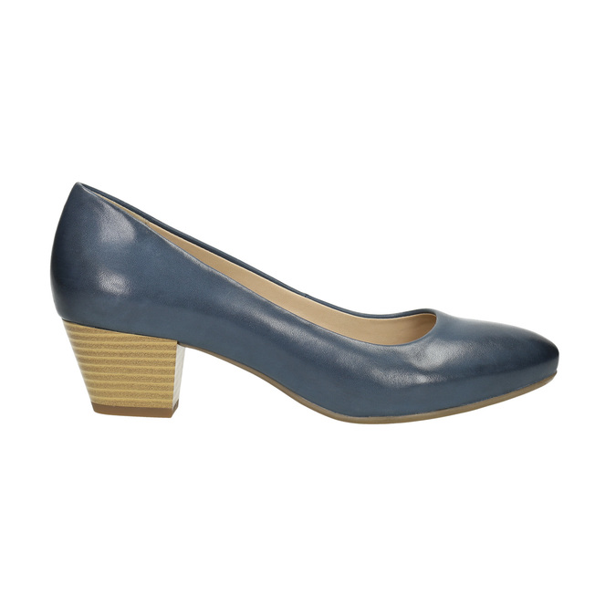 Pumps on a stable heel pillow-padding, blue , 626-9637 - 15