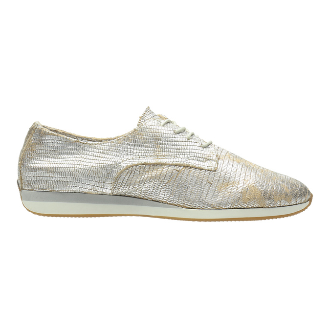 Gold leather sneakers bata, silver , 526-8633 - 15