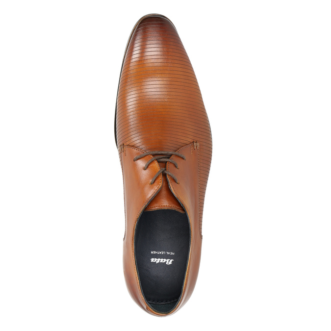 Brown leather Derby shoes bata, brown , 826-3804 - 19