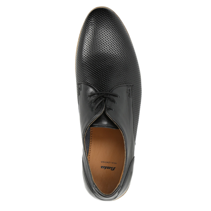 Black leather shoes with a light sole bata, black , 824-6807 - 19