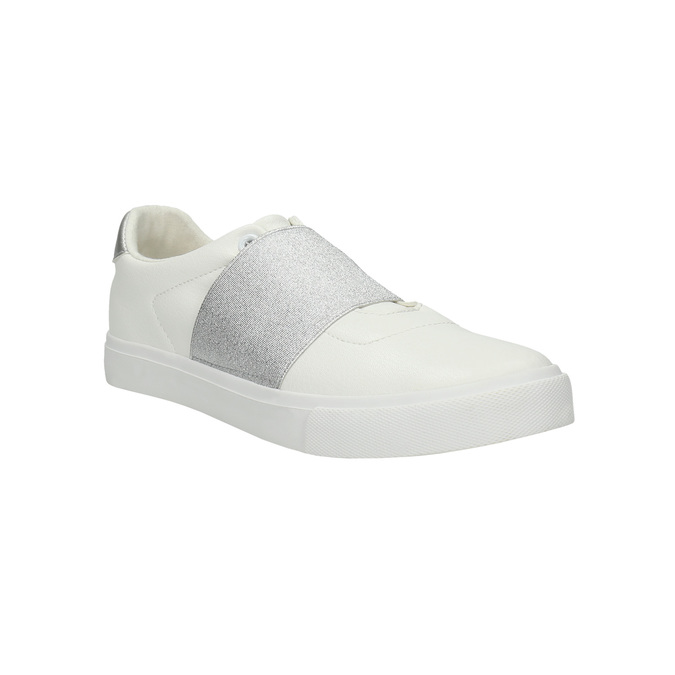 White sneakers with silver stripe north-star, white , 511-1602 - 13