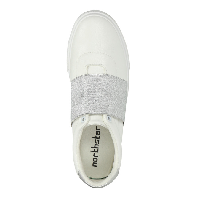 White sneakers with silver stripe north-star, white , 511-1602 - 19