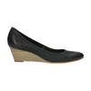 Leather pumps with a wedge heel bata, black , 626-6638 - 15