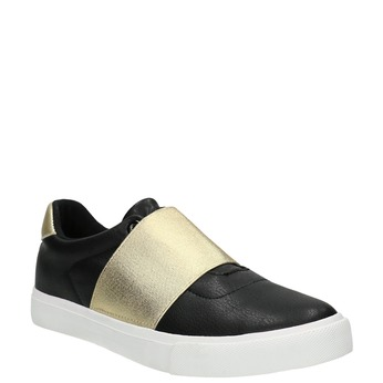 Black sneakers with gold stripe north-star, black , 511-6602 - 13