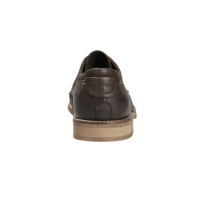 Brown leather shoes with distinctive stitching bata, brown , 826-4815 - 17