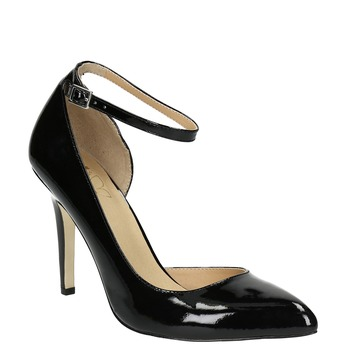 Black leather pumps with ankle strap insolia, black , 728-6640 - 13