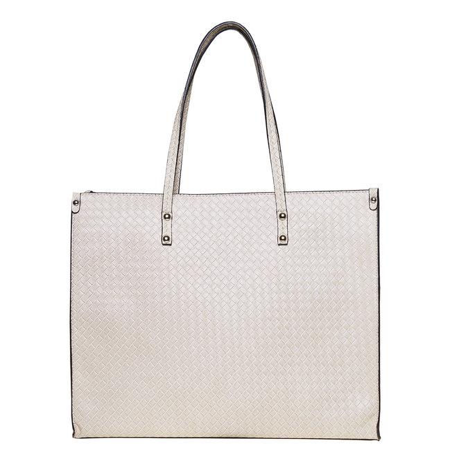 Ladies' cream handbag with braided pattern bata, beige , 961-8289 - 26