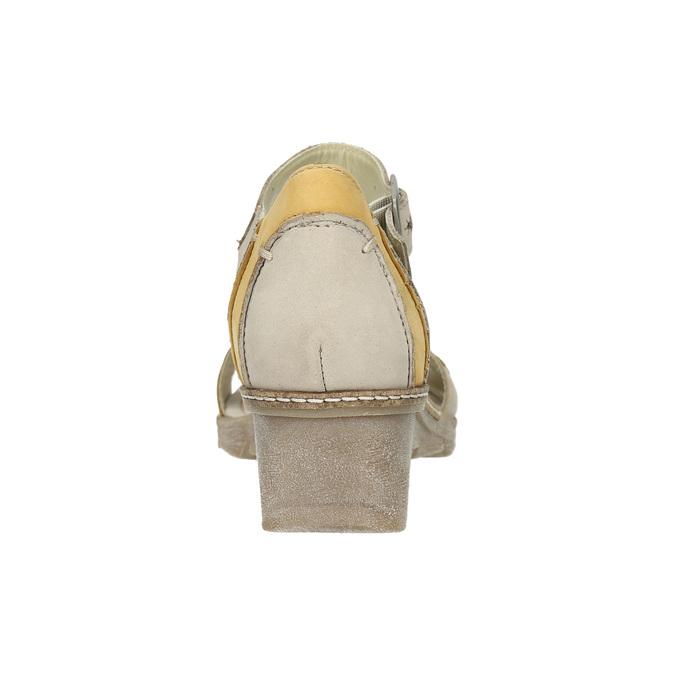 Leather wedge-heel sandals bata, gray , 626-2642 - 17