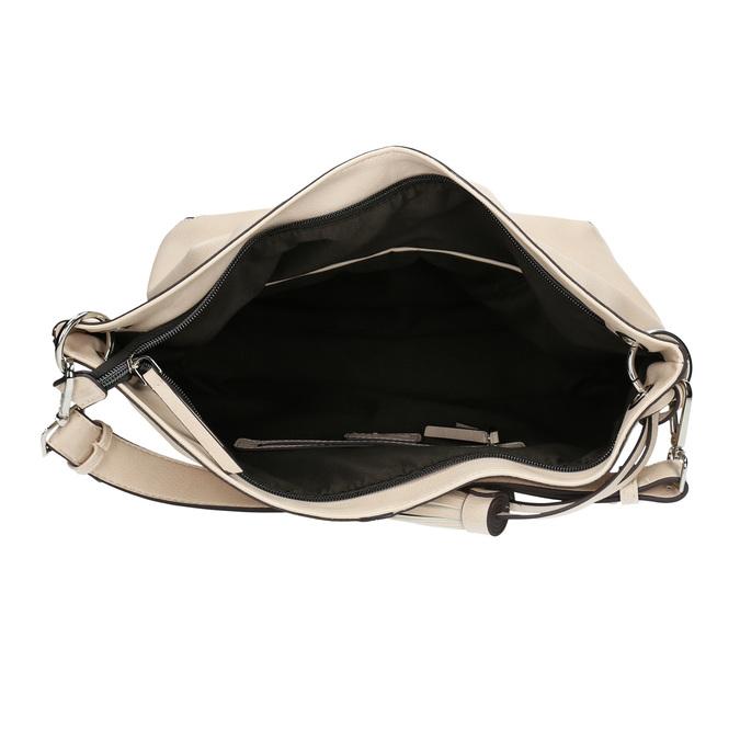 Handbag with tassels bata, beige , 961-8703 - 15