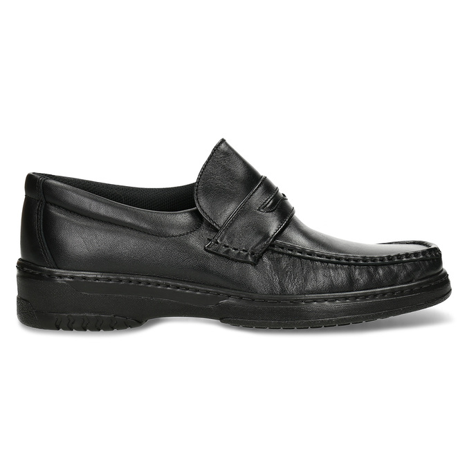 Men's leather moccasins with stitching, black , 814-6624 - 19