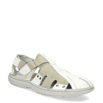 Men's leather sandals bata, white , 866-1622 - 13