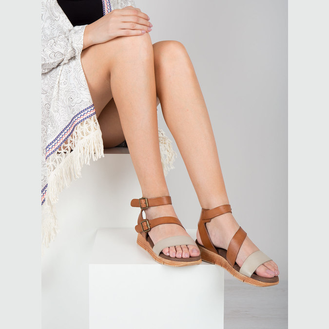 Leather sandals with a distinctive sole weinbrenner, brown , 566-4627 - 18