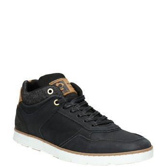 Men's leather high-top sneakers bata, black , 846-6641 - 13