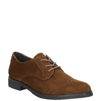 Ladies' brown shoes with stitching bata, brown , 529-4632 - 13