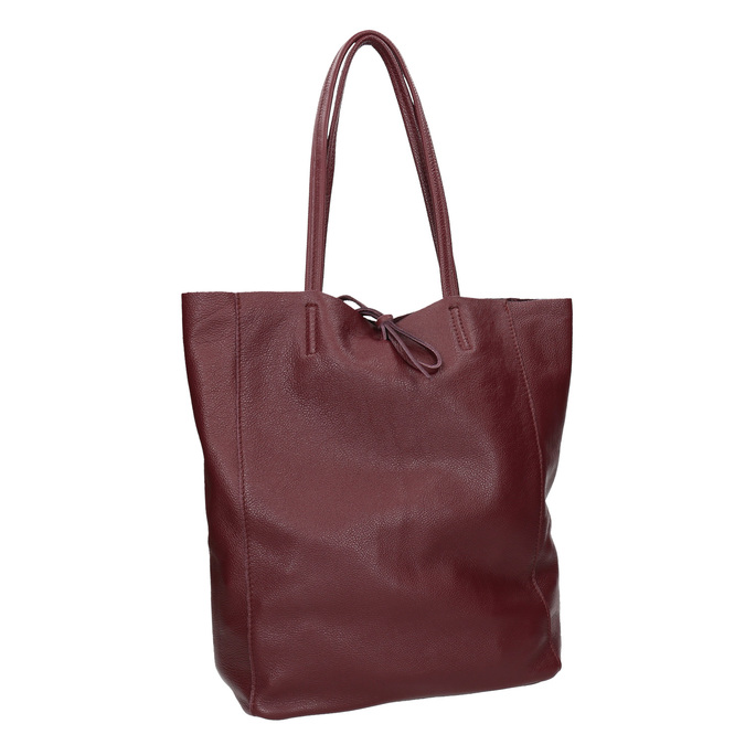 Burgundy leather Shopper handbag bata, red , 964-5522 - 13