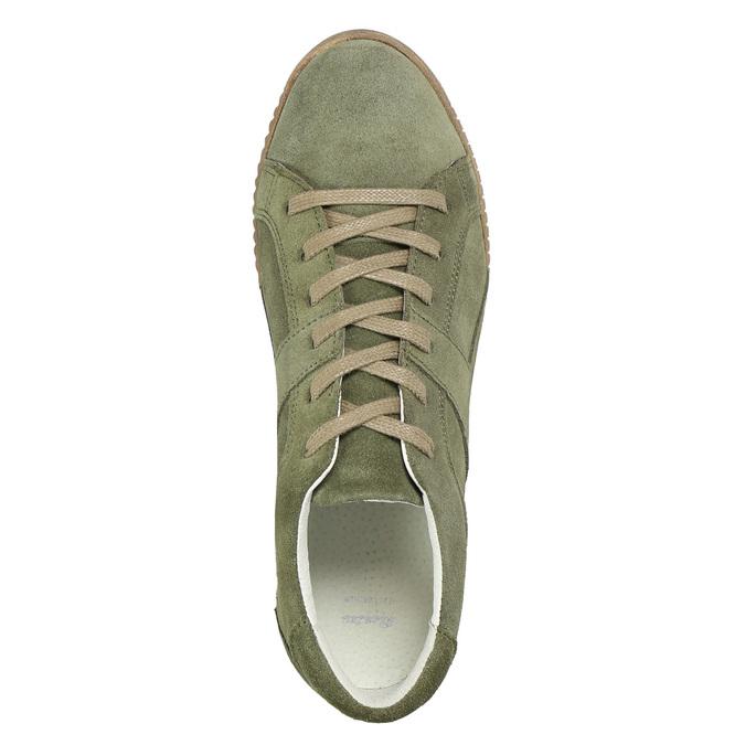 Ladies' leather khaki sneakers bata, green, 523-7604 - 26