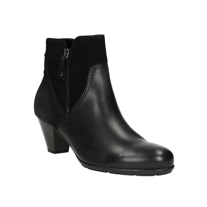 Leather Ankle Boots gabor, black , 716-6028 - 13