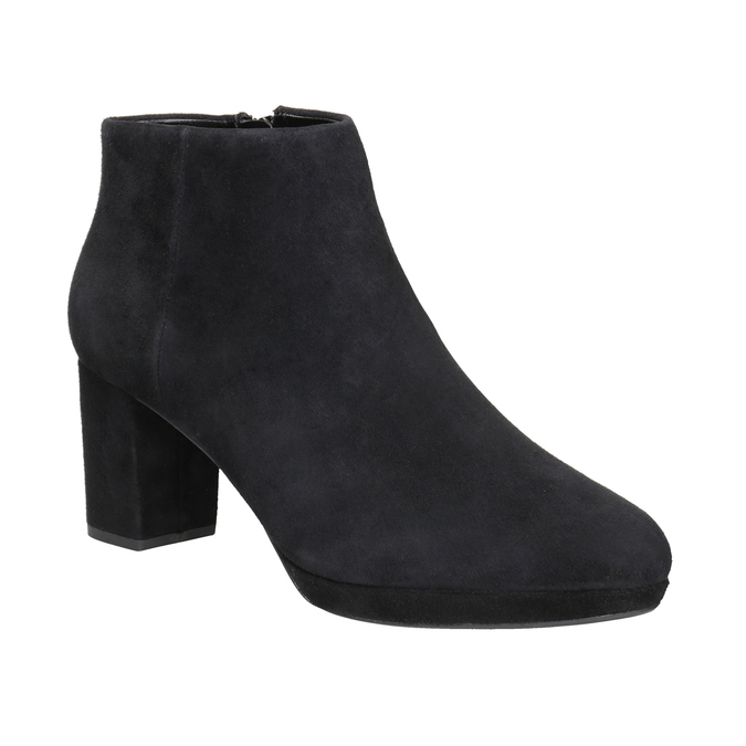 Leather Ankle Boots with Heel clarks, black , 713-6035 - 13