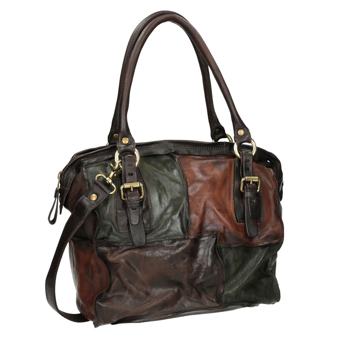Leather Patchwork Handbag a-s-98, multicolor, 966-0062 - 13