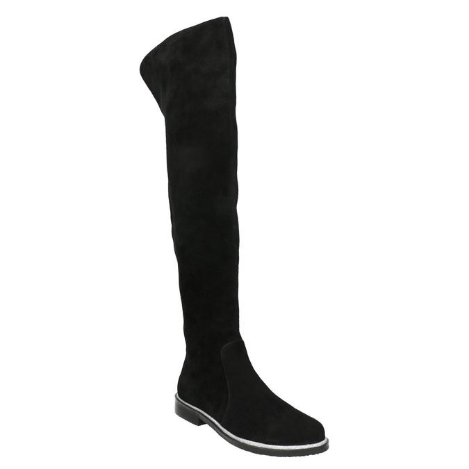 Brushed leather over-knee high boots bata, black , 593-6605 - 13