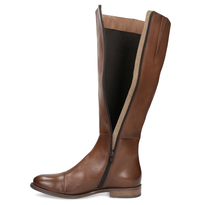 Brown Leather High Boots bata, brown , 594-4637 - 17