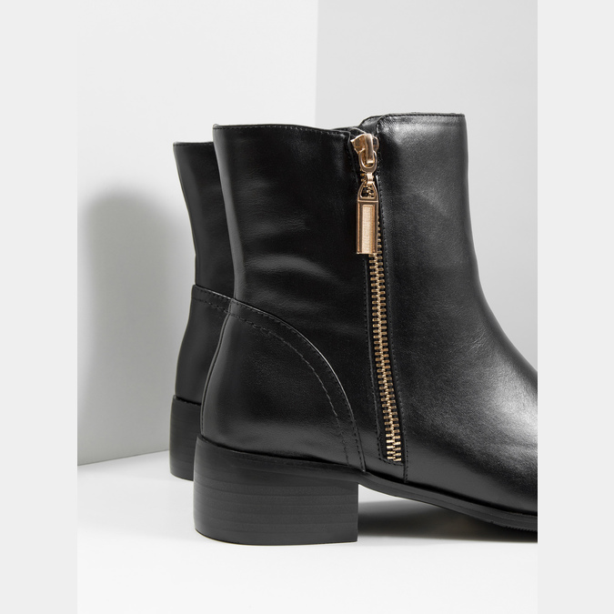 Leather ankle boots with gold zippers bata, black , 594-6654 - 14