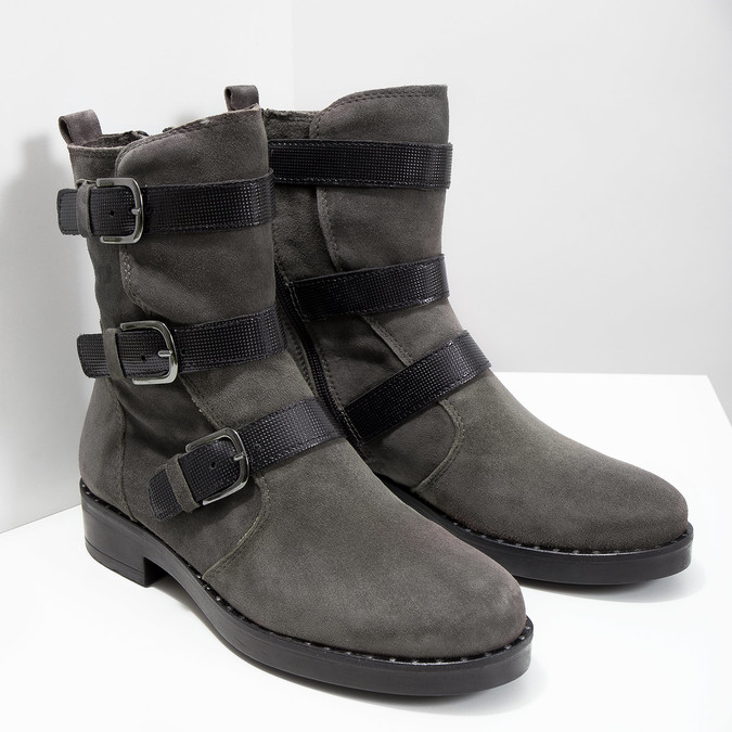 Ladies' high boots with buckles bata, gray , 593-2610 - 18
