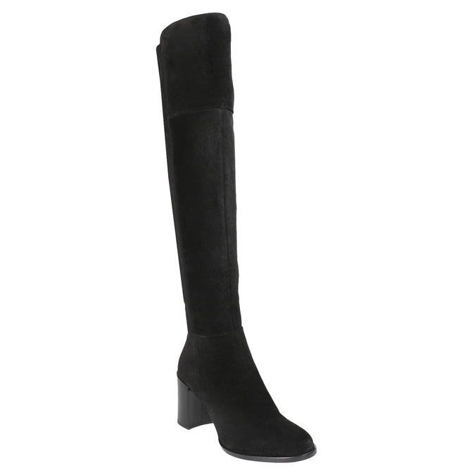 Ladies' Brushed Leather High Boots with Heel bata, black , 693-6664 - 13