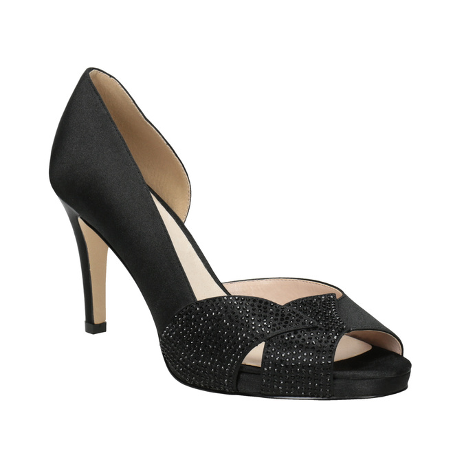 Black Pumps with Rhinestones bata, black , 729-6613 - 13