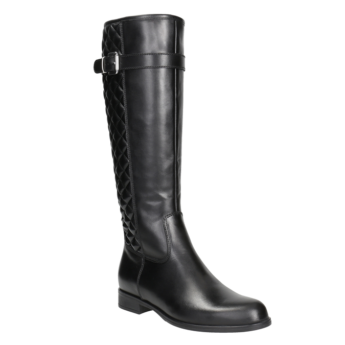 Leather high boots with stitching bata, black , 594-6663 - 13