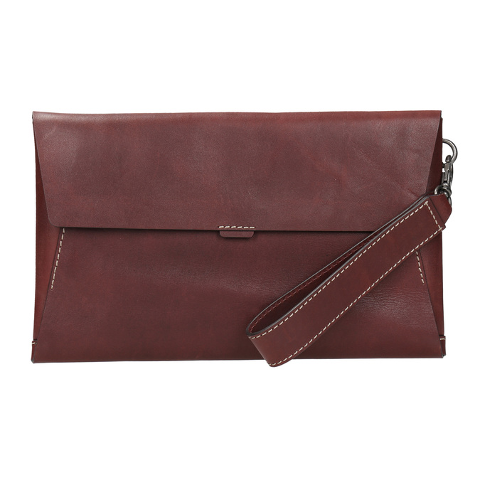 Leather clutch with stitching bata, red , 966-5285 - 26