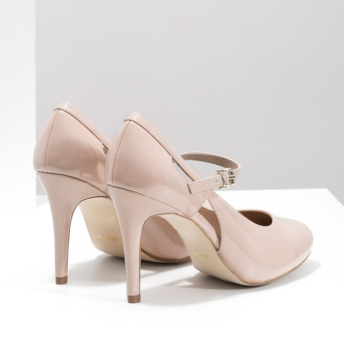 Pinkish cream-colored pumps with cut-outs insolia, beige , 721-8614 - 16