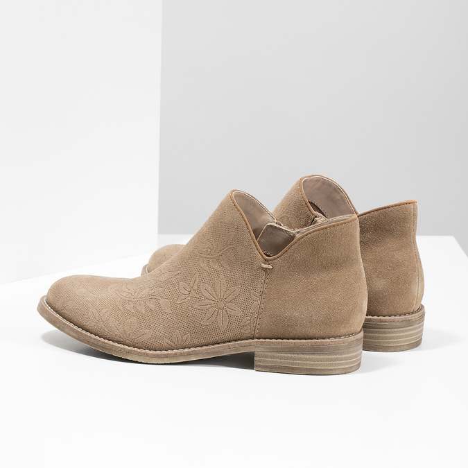 Leather ankle boots bata, brown , 596-3685 - 16