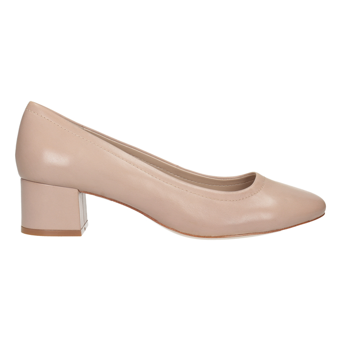 Pinkish cream-colored pumps on a low heel bata, pink , 624-8644 - 26
