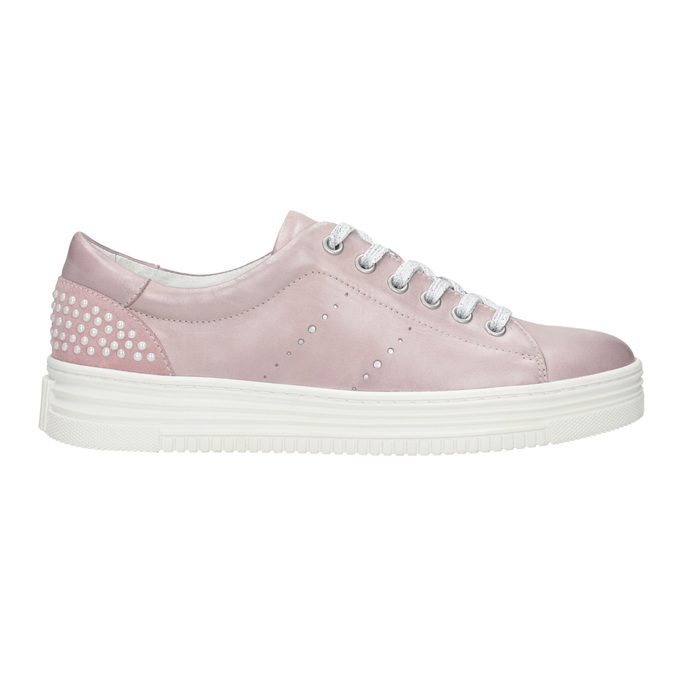 Pink leather sneakers with small pearls bata, pink , 546-5606 - 26