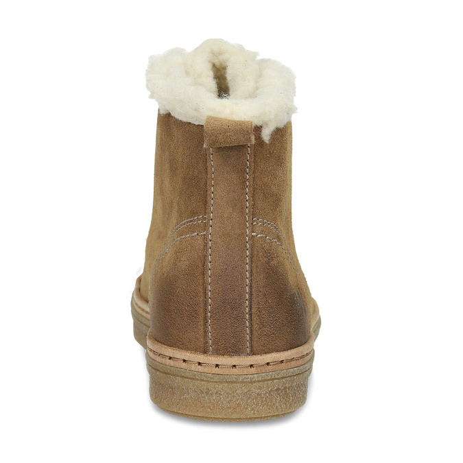 Leather ankle-cut sneakers with fur, brown , 596-8627 - 15